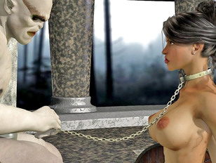 Enslaved hottie gets her mouth destroyed with a massive cock