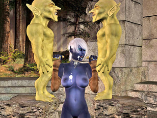 Horny goblins enjoying a killer blowjob by elf hottie