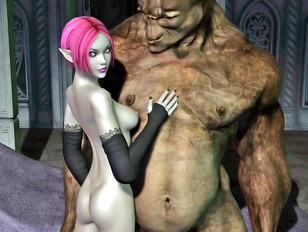 Hot babe caught masturbating by goblins