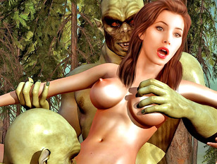 Sex crazed orcs capture and rape a gorgeous girl