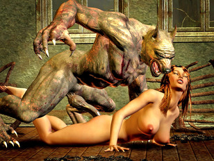 Scary huge werewolves hunting for busty human females