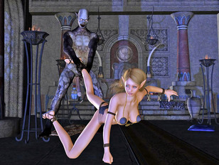 Naive girl trapped and fucked by a horny robot