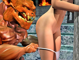 Hot topless babe molested by the demon lord
