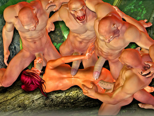 Sex starved demons fuck and cream a hottie