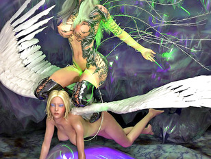 Horny winged babes get the drilling they needed