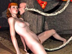 Kinky alien drills hot babe's pussy