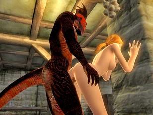 Lizardman fucking a horny girl from behind