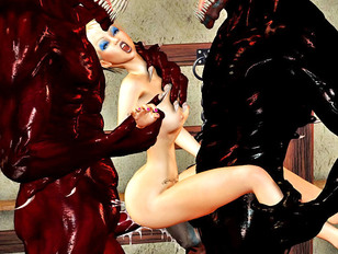 Demon monsters enjoy double drilling a hottie