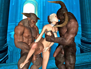 Helpless babe sandwiched between two giant minotaurs