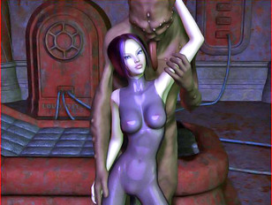 Hot 3d babe loves an ugly monster's gigantic cock in her mouth