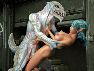 Busty babe mercilessly fucked hard by a giant lizard