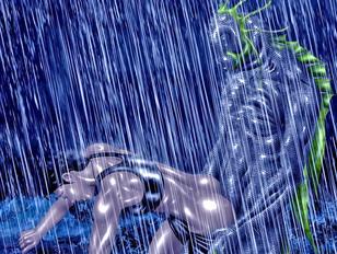 Horny monster fucks a girl in the rain