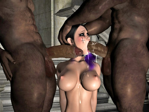 Black haired hottie fucked by two red demons