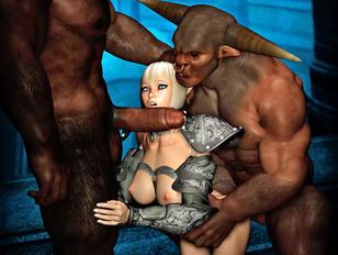 Helpless blonde shut up with two minotaur cocks