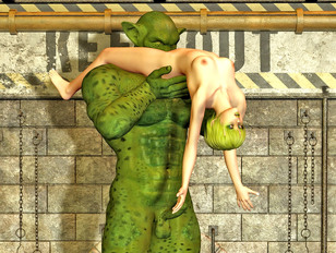 Petite elven girl eaten out by a green giant