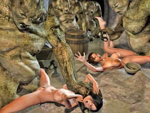 Ugly cave trolls kidnap and rape hotties