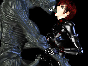 3D latex babe making out with evil alien