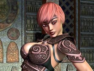 Hot 3d fantasy girl exposing her big rack