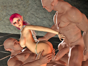 3d evil attack of trolls and double penetration of chick