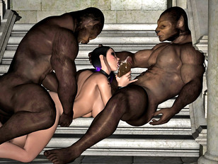 3d babes got double penetration from monsters and horny she-males