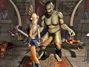 Hot blonde gets double teamed by horny minotaurs