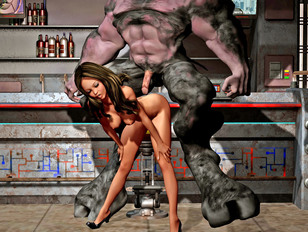 Kinky lesbian tortures a chained orc girl