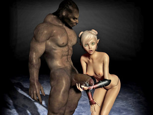 Blonde babe attacked and fucked hard by goblins