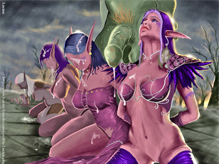 Busty elf sucking big one and take it to ass!