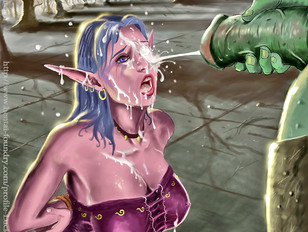 Hot elf facialized by an ogre