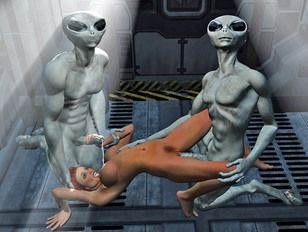 Hot spaceship threesome with aliens
