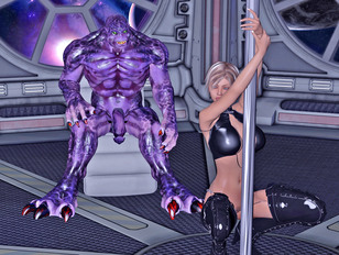 Sexy blonde strips to please a horny alien