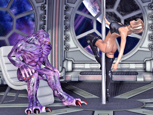 Hot babe nailed and creamed by horny alien monster
