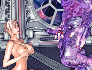 Wicked alien cums all over hottie's big tits