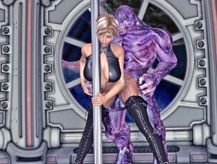 Busty hottie in boots enjoys a giant alien cock