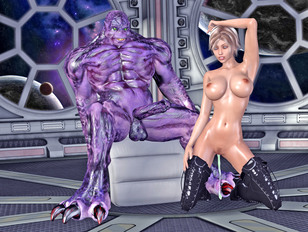 Alien invader gets a lap dance and a blowjob