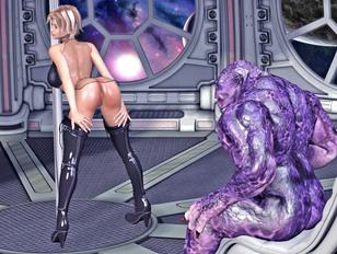 Lusty girl lets an alien monster fuck her