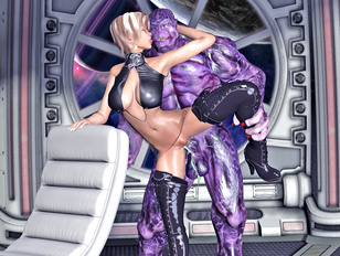 Horny babe offers her body to a hideous alien