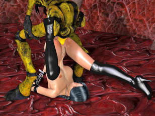 Dark-haired bitch in her leather boots fucked from behind by a green monster