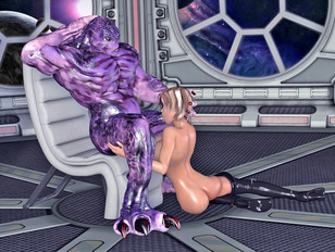 Long-haired naked beauty seduces lovers of monster animated porn