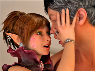 Hot elf girls having sex with humans, ugly monsters and demons