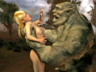 Horny 3D girls getting banged by monsters and curious aliens