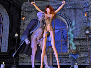 Romance between a naked blonde beauty and a horny beast