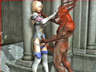 Monsterous woolf fingers the pussy of a hot blonde warrior outside