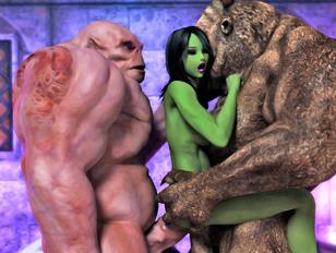 Seducing busty 3D babes probing huge monsters' even bigger dicks