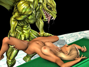 Sexy young 3d girl has sex with a fierce demon from hell.