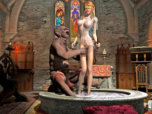 Blonde goddess watches her friend violated by a monster