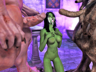 horny sluts going all the way in a minotaur porn
