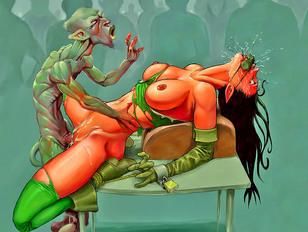 Unlucky tied cartoon girl getting raped by dozens of kinky monsters