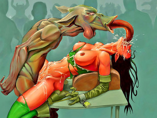 Poor tied cartoon babe getting violated by dozens of horny monsters