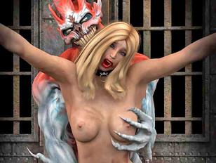 young innocent blonde screams in a rape monster porno